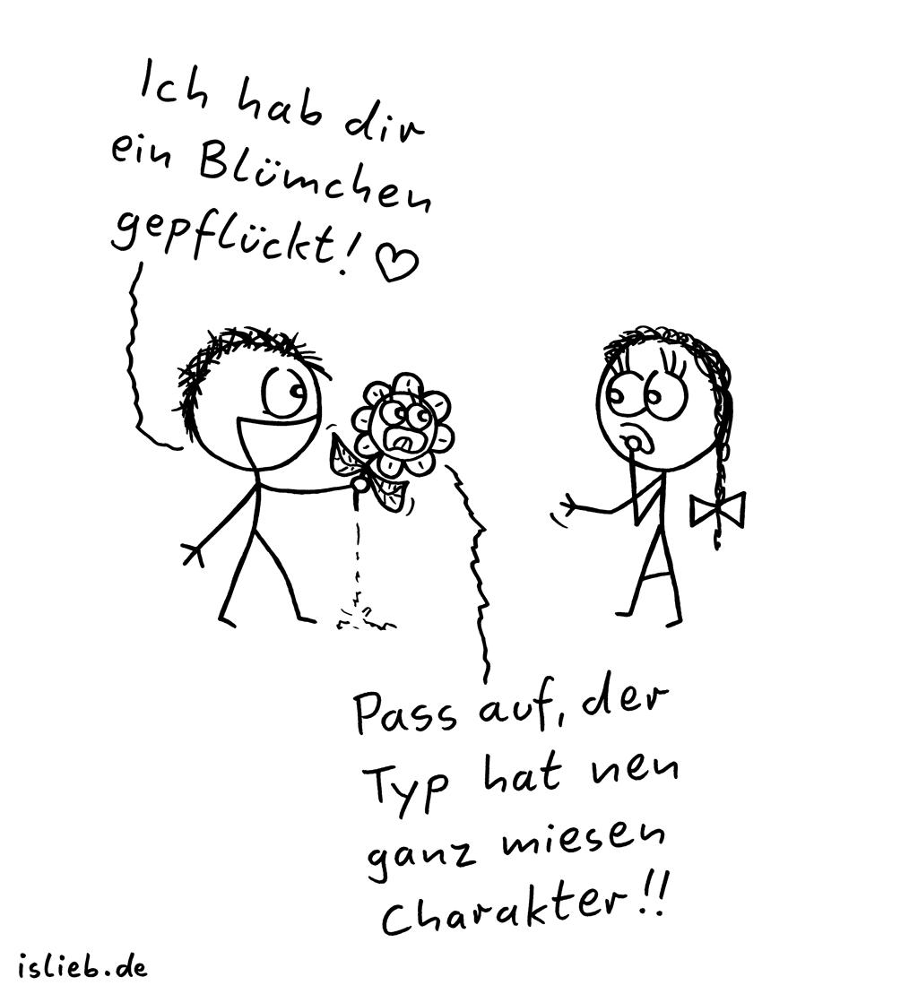 Blümchen | Valentins-Cartoon | is lieb? | Ich hab dir ein Blümchen gepflückt! Pass auf, der Typ hat nen ganz miesen Charakter! | Valentinstag, Blumen