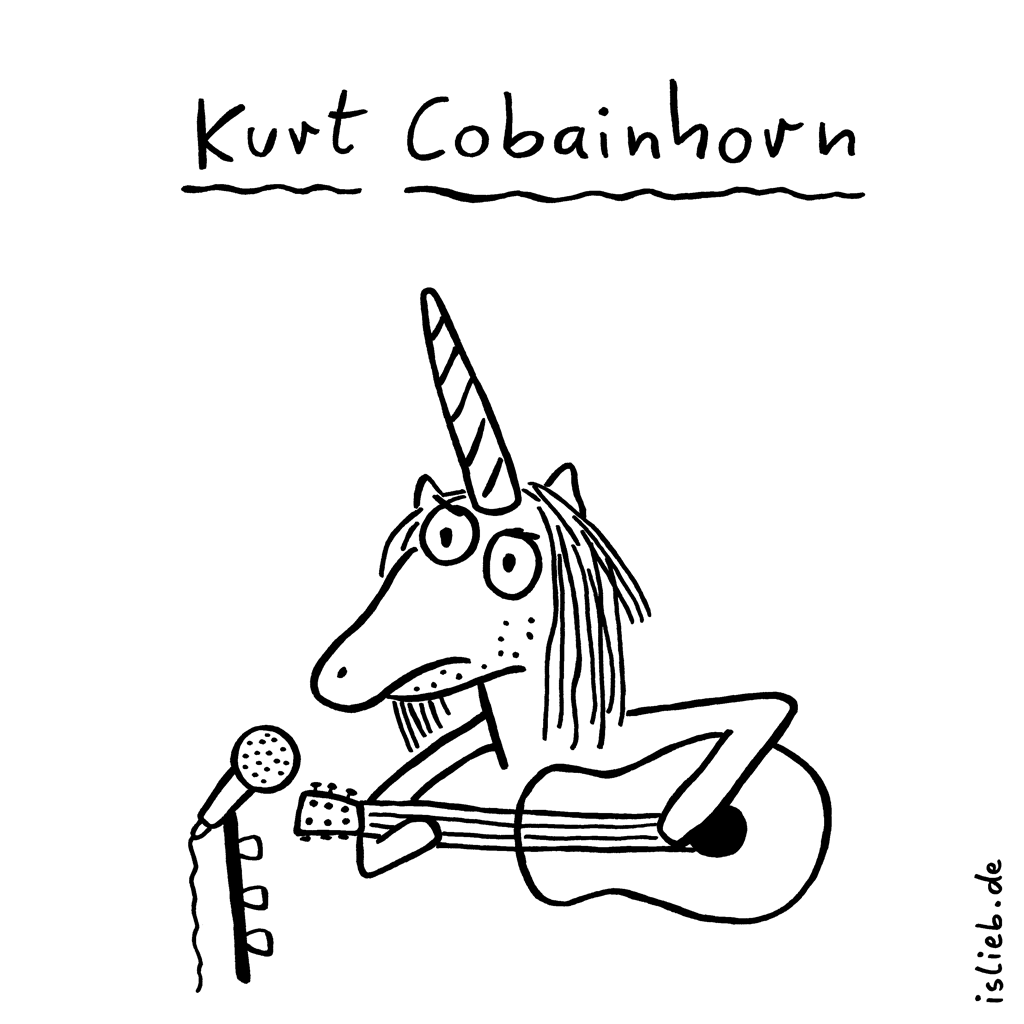 Kurt Cobainhorn | Nirvana-Cartoon | is lieb? | Einhorn, Gitarre, Kurt Cobain, Nirvana, Grunge, Musiker