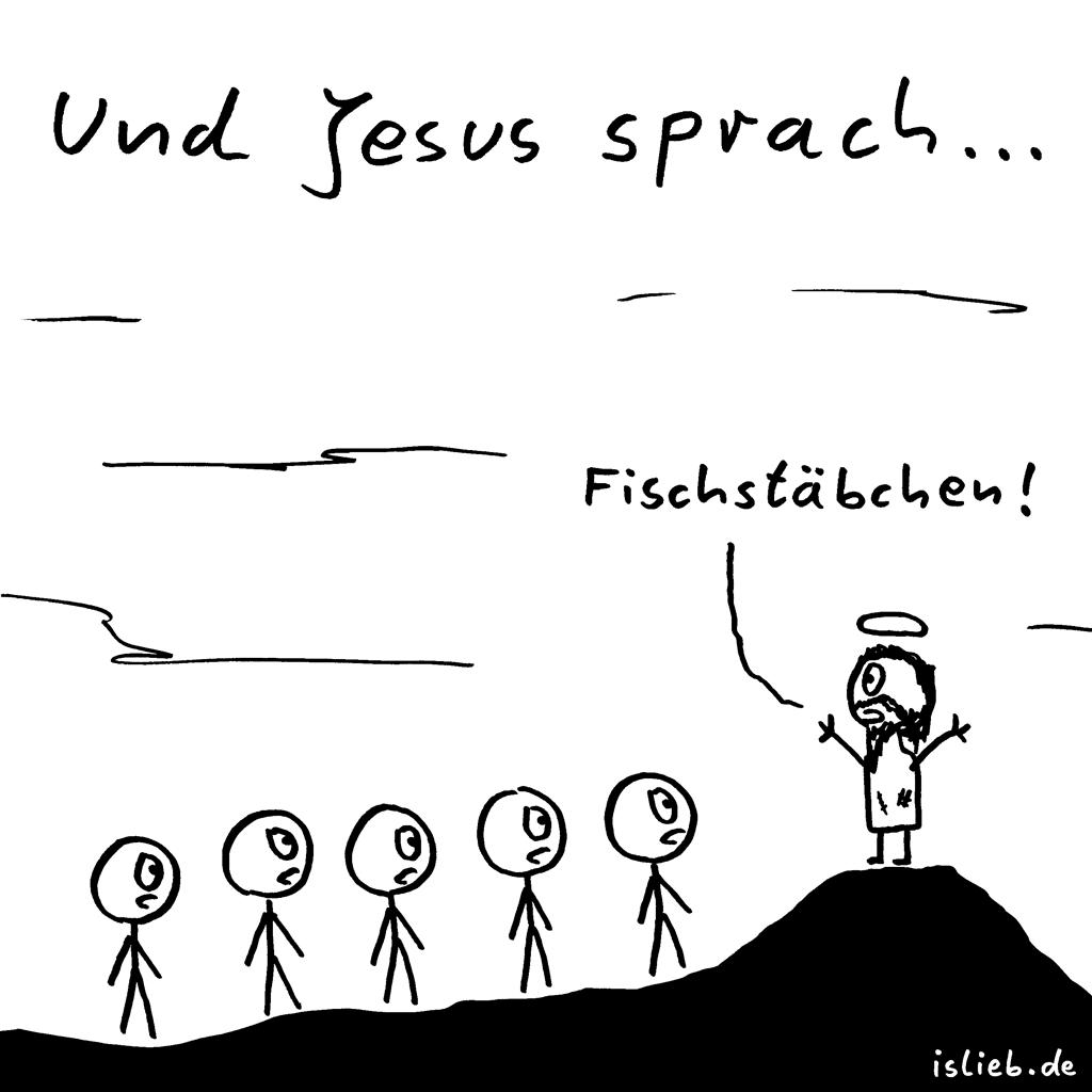 Prophezeiung | Bergpredigt-Cartoon | is lieb? | Und Jesus sprach... Fischstäbchen | Bergpredigt, Christen, Christentum, Religion, Jünger
