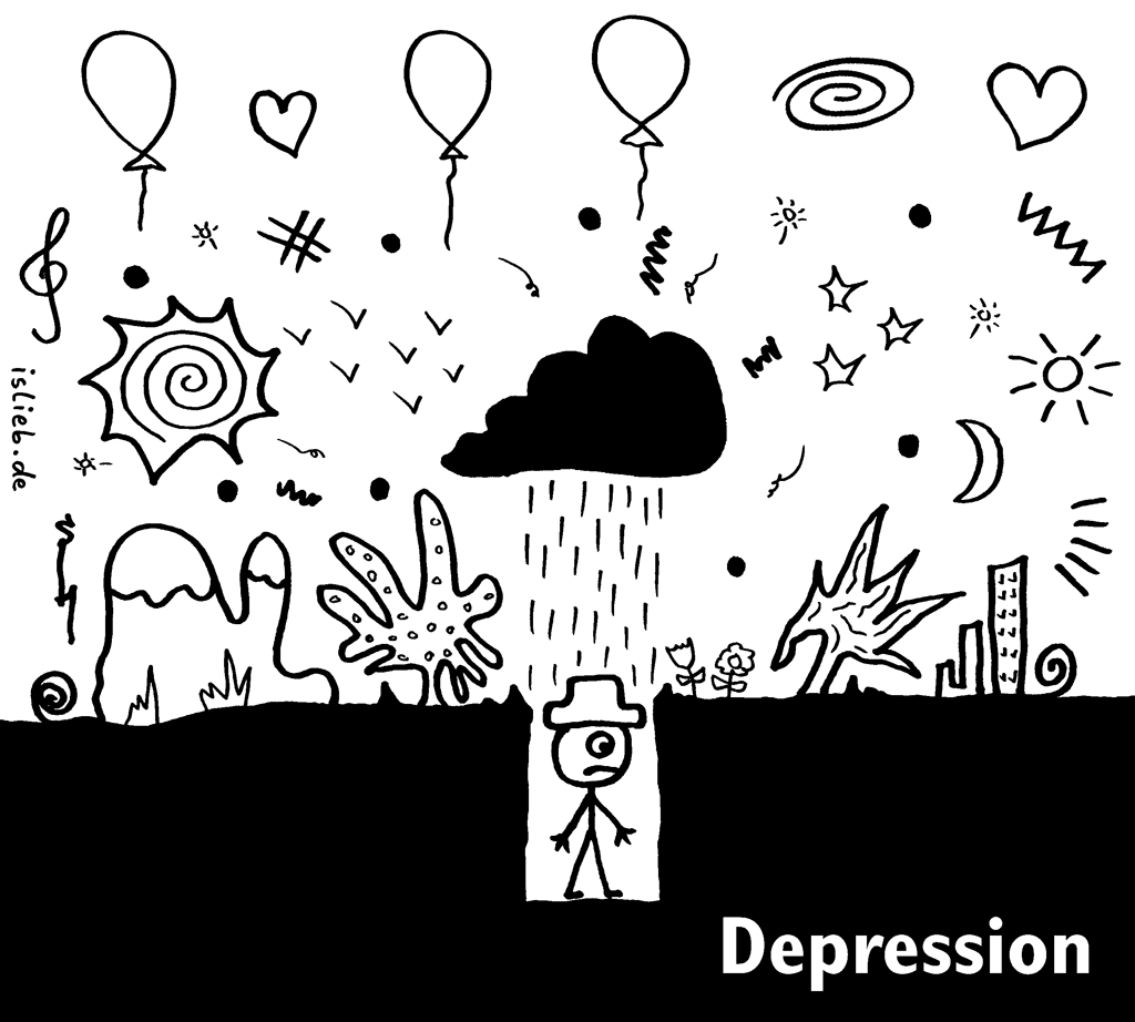 Depression | Strichmännchen-Cartoon | is lieb? | traurig, depressiv, schwarze Wolke, Loch