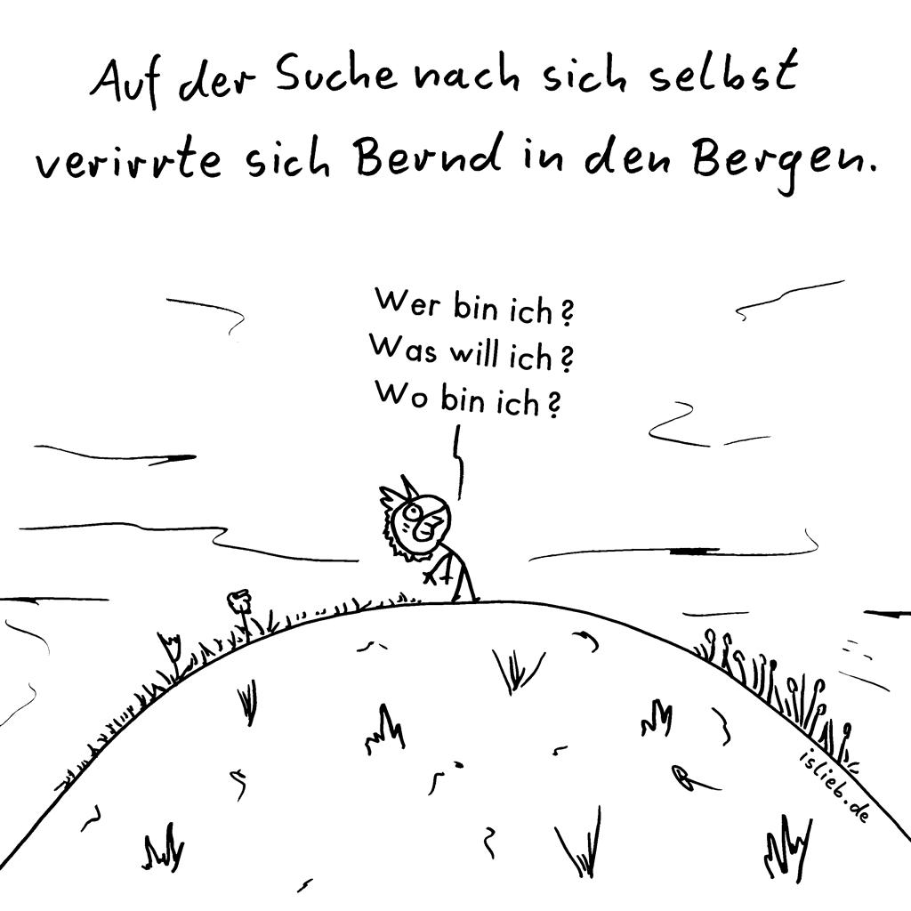 Selbstfindung | Strichmännchen-Cartoon | is lieb? | Auf der Suche nach sich selbst verirrte sich Bernd in den Bergen. Wer bin ich? Was will ich? Wo bin ich?