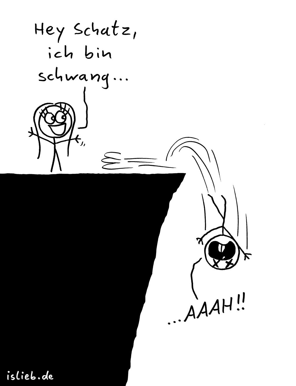 Schwanger | Harakiri-Cartoon | is lieb? | Hey Schatz, ich bin schwang... aaah! | Schwangerschaft, Verhütung