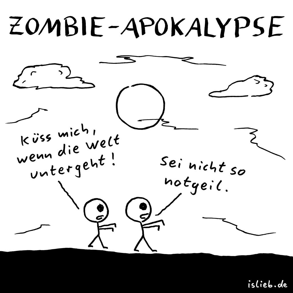 Zombie-Apokalypse | Strichmännchen-Cartoon | is lieb? | Küss mich, wenn die Welt untergeht! Sei nicht so notgeil. | Zombies, Weltuntergang, küssen