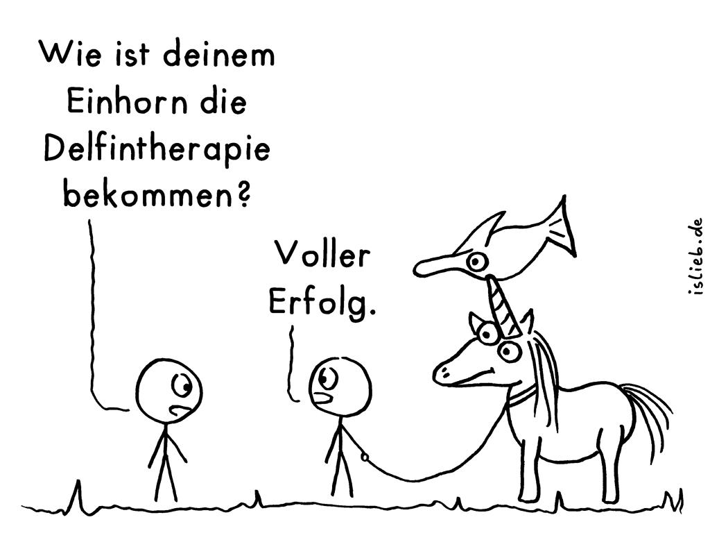 Delfintherapie | Einhorn-Cartoon | is lieb? | Wie ist deinem Einhorn die Delfintherapie bekommen? Voller Erfolg!