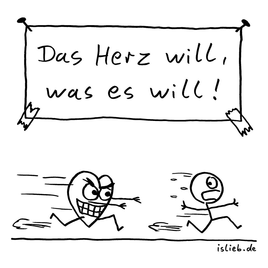 Herzenswunsch | Strichmännchen-Cartoon | is lieb? | Das Herz will, was es will! | Liebe, Jagd, jagt, jagen, fliehen, Verfolgung