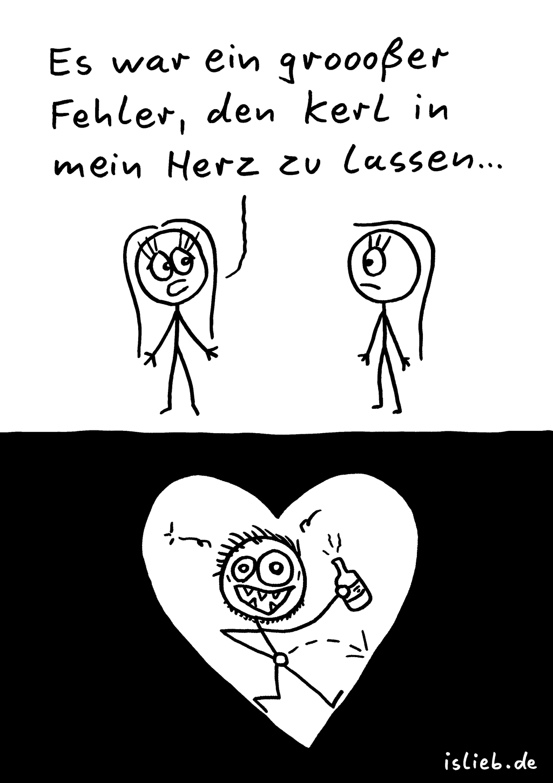 Fehler | Strichmännchen-Cartoon | is lieb? | Es war ein großer Fehler, den Kerl in mein Herz zu lassen. | Liebeskummer, Beziehung, Trennung