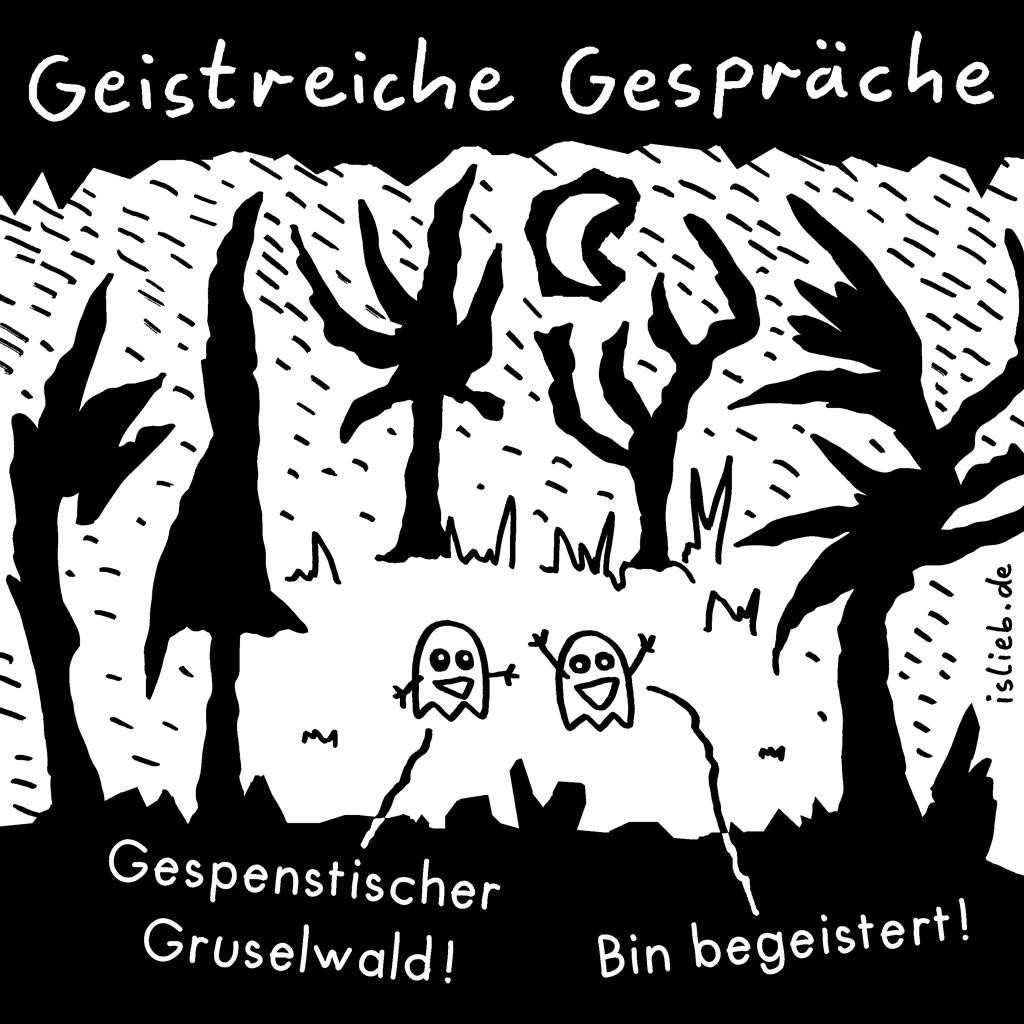 Geistreiche Gespräche | Gespenster-Cartoon | is lieb? | Gespenstischer Gruselwald! Bin begeistert!