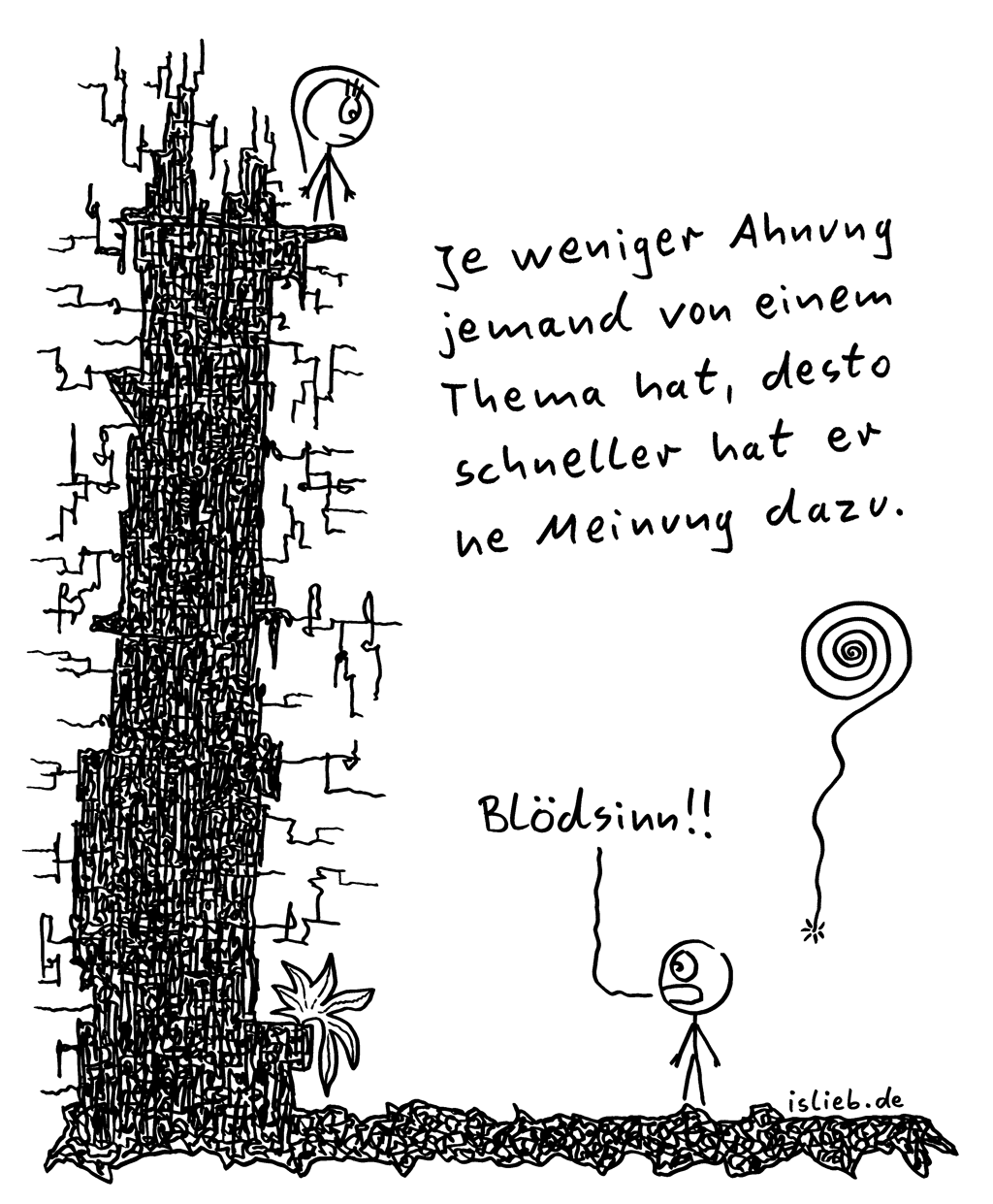 Meinung / Ahnung | Philosophie-Cartoon | is lieb? | Je weniger Ahnung jemand von einem Thema hat, desto schneller hat er ne Meinung dazu. | Blödsinn! | Sprüche, Spruchbild