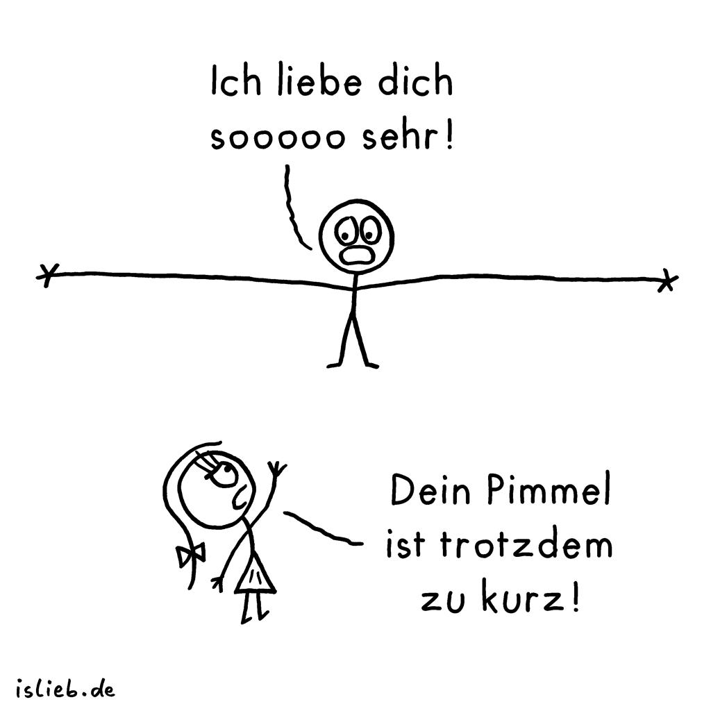 Pimmel | Strichmännchen-Cartoon | is lieb? | Ich liebe dich sooooo sehr! Dein Pimmel ist trotzdem zu kurz. | Penis, Sex, ich liebe dich so sehr, zu klein