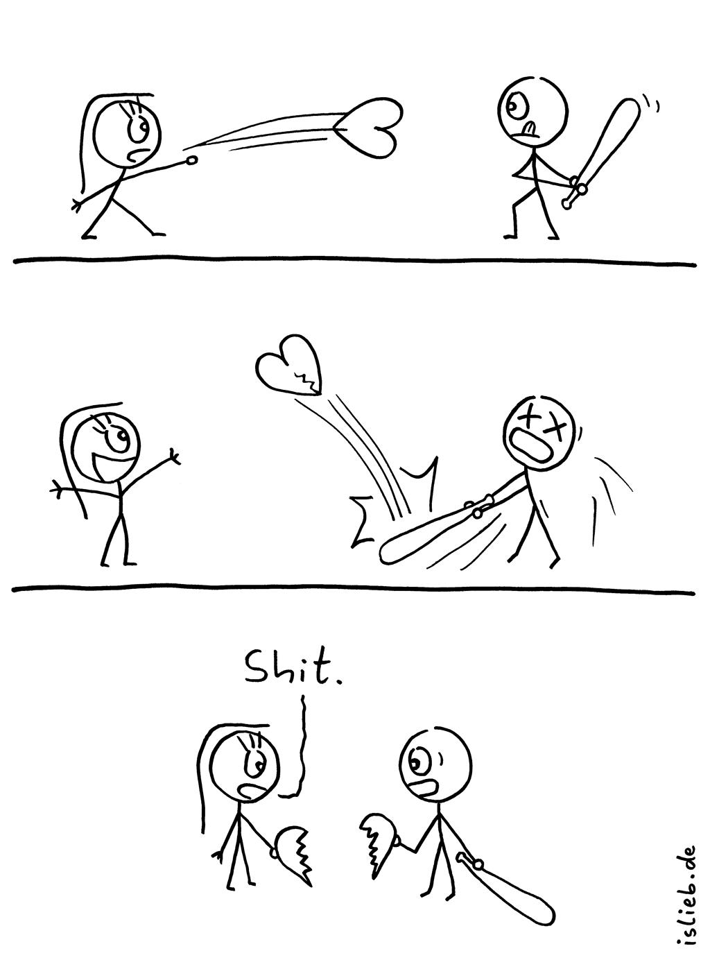Shit | Baseball-Comic | is lieb? | shit, shyte, scheiße, verkackt, verschissen, Sport, gebrochenes Herz, Herzensbruch, Beziehung