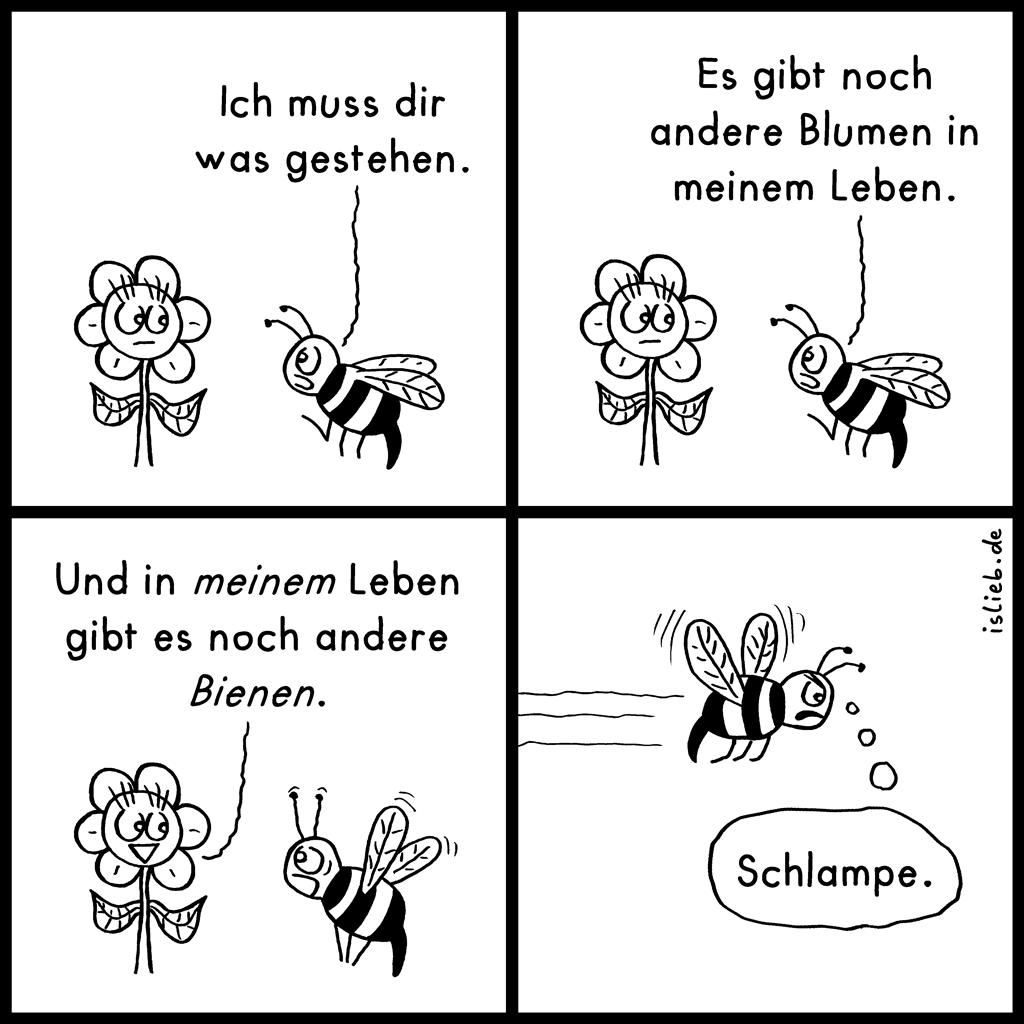 Biene | Blümchen-Comic | is lieb? | Ich muss dir was gestehen. Es gibt noch andere Blumen in meinem Leben. Und in meinem Leben gibt es noch andere Bienen! Schlampe. | Biene, Wespe, Insekten, Blümchen, Eifersucht, Macho, Geschlechter, Treue
