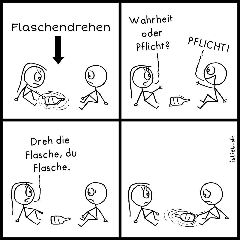 Flaschendrehen | Strichmännchen-Comic | is lieb? | Wahrheit oder Pflicht? Pflicht! Dreh die Flasche, du Flasche.