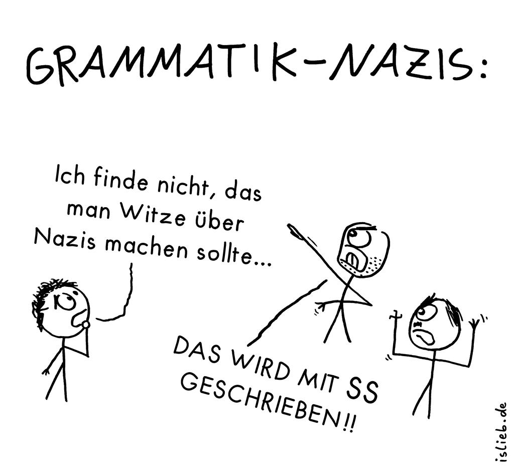 Grammatik-Nazis | Rechtschreib-Cartoon | is lieb? | Ich finde nicht, das man Witze über Nazis machen sollte. Das wird mit SS geschrieben! | Grammatik, dass, Rechtschreibung, Doppel-S, Artikel, Pronomen, Konjunktion, Nebensatz, Relativpronomen, Demonstratrivpronomen, deutsche Sprache, Deutschunterricht, Subjektsatz, Attributsatz, daß, dieses, welches, jenes, Korrektur