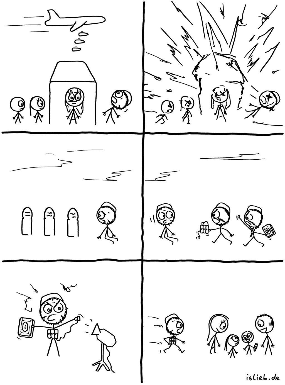 Krieg und Terror | Strichmännchen-Comic | is lieb? | Bomben, Terrorismus, Selbstmordattentäter, Islamismus, Dschihad