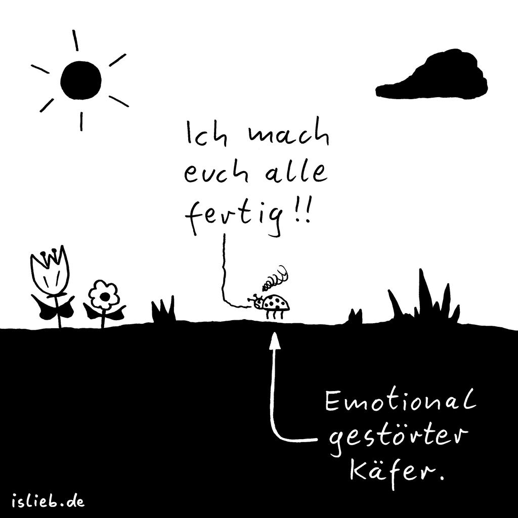 Käfer | Borderline-Cartoon | is lieb? | Ich mach euch alle fertig! Emotional gestörter Käfer | Borderline Persönlichkeitsstörung, Aggression, Kafka, Psychologie