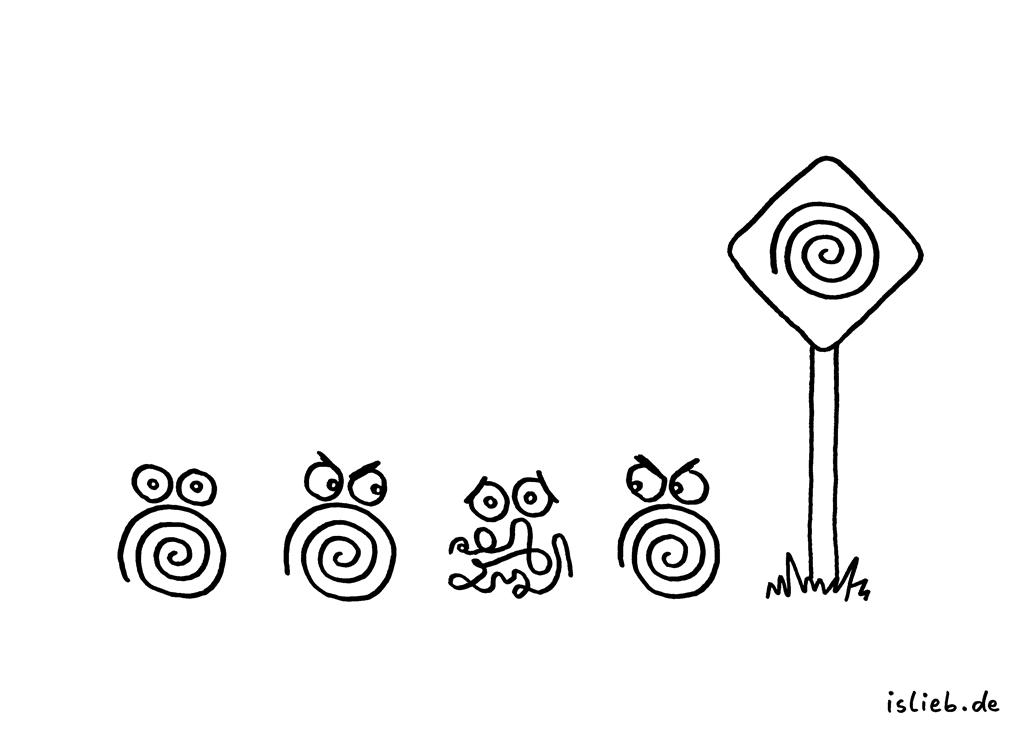 Anders sein | Spiralen-Cartoon | is lieb? | Außenseiter, Störfaktor, Spiralen, Schild