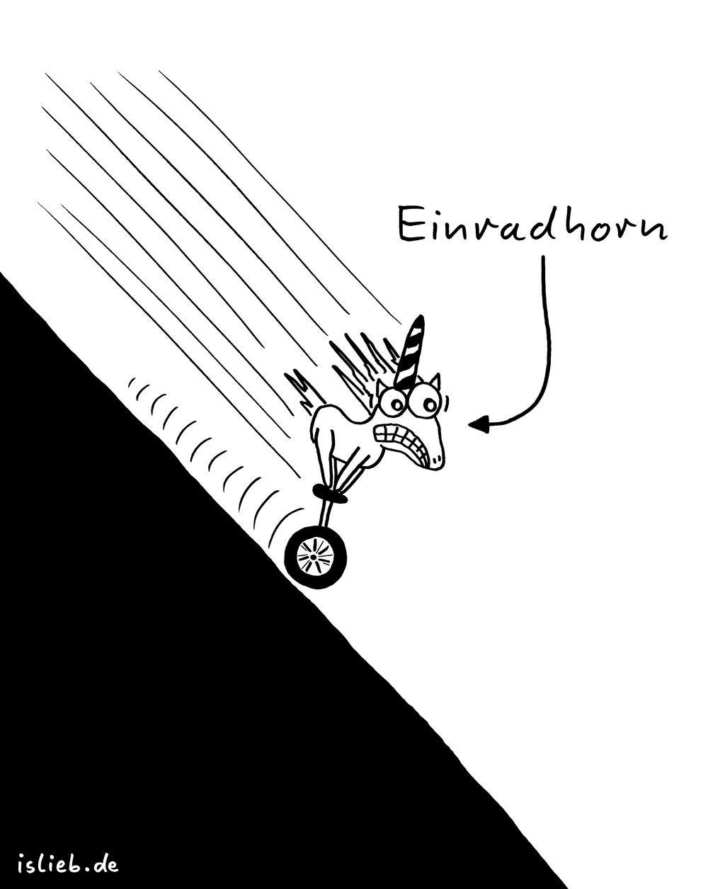 Einradhorn | Einrad-Cartoon | is lieb? | Einrad, Einhorn, Einradeinhorn, Einrathorn, Abhang, Akrobatik, Zirkus, rasen