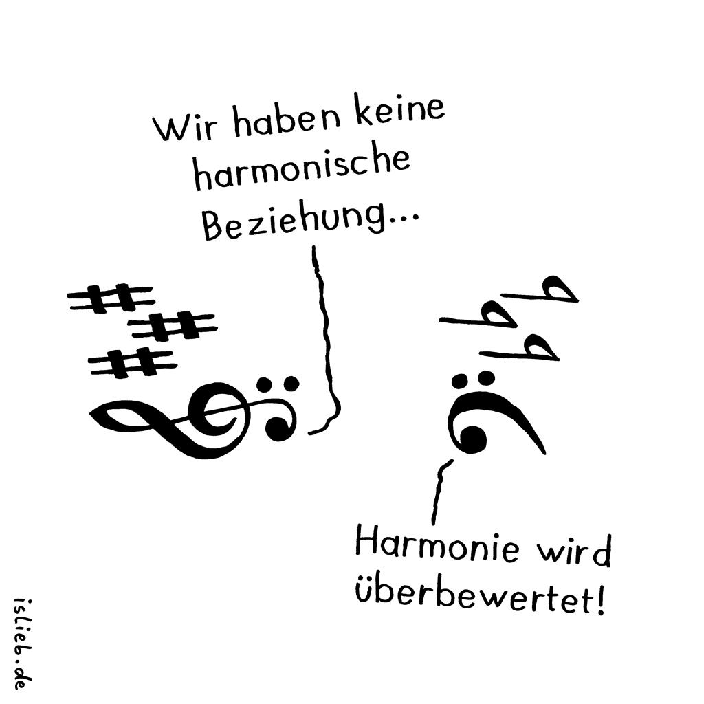 Harmonie | Musik-Cartoon | is lieb? | Wir haben keine harmonische Beziehung. Harmonie wird überbewertet! | Musiktheorie, Violinschlüssel, Bassschlüssel, Partitur, Klavier, Musiker, Tonarten