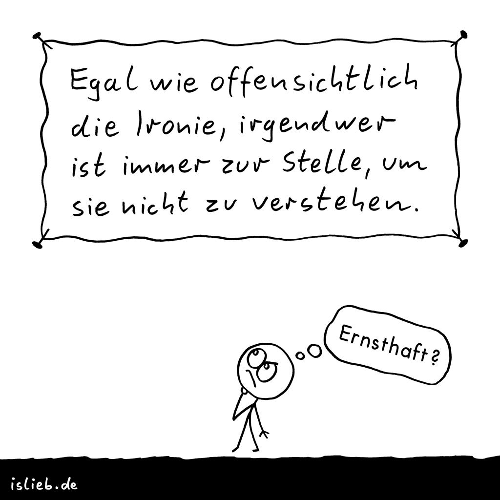 Ironie | Strichmännchen-Cartoon | is lieb? | Egal wie offensichtlich die Ironie, irgendwer ist immer zur Stelle, um sie nicht zu verstehen. Ernsthaft | Satire, ironisch, Humor, humorlos