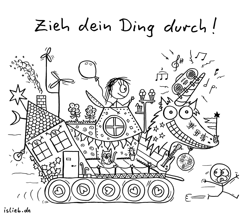 Zieh dein Ding durch! | Motivations-Cartoon | is lieb? | Einhorn, motivierend, Pippi Langstrumpf