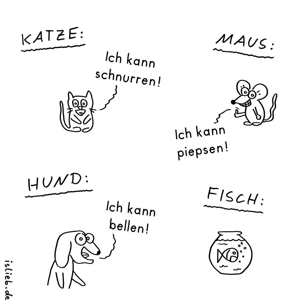 Orchester der Tiere | Haustier-Cartoon | is lieb? | Katze - ich kann schnurren! Maus - ich kann piepsen! Hund - ich kann bellen! Fisch | Ruhe, Stille, stumm