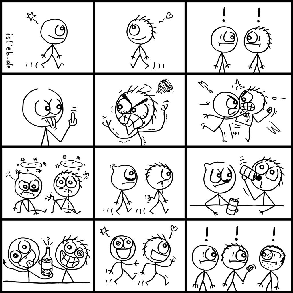 Leute treffen | Männer-Comic | is lieb? | Prügeln, schlagen, Schlägerei, Kampf, kämpfen, saufen, trinken, vertragen, Slapstick