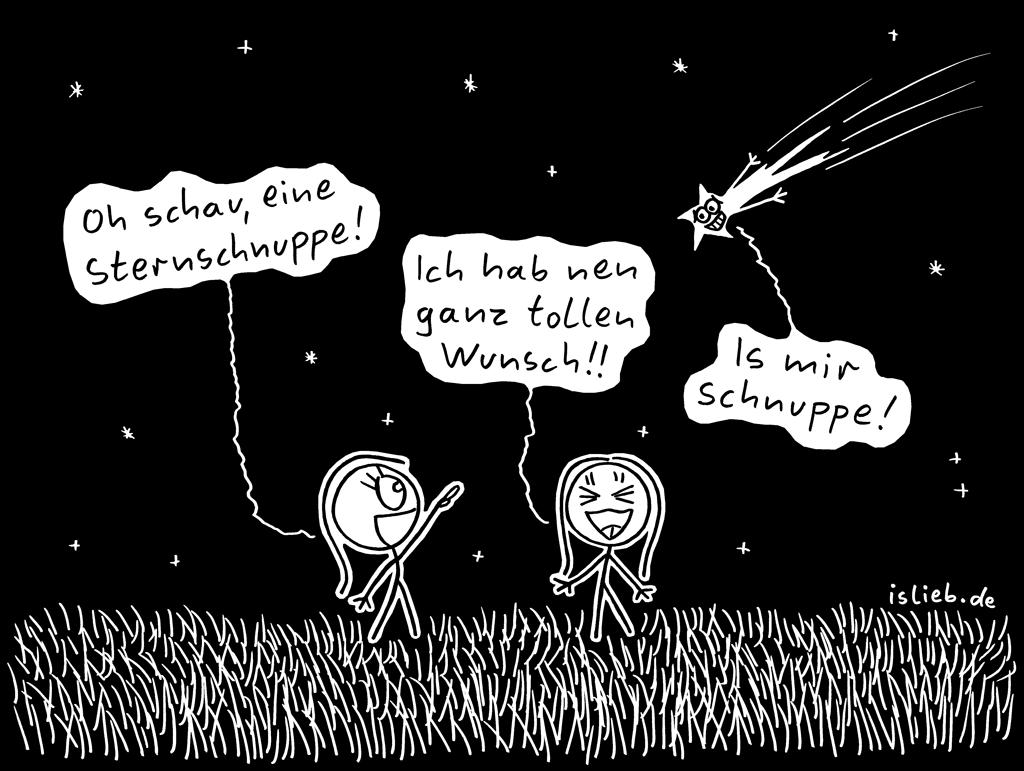Sternschnuppe | Wunsch-Cartoon | is lieb? | Oh schau, eine Sternschnuppe! Ich hab nen ganz tollen Wunsch! Is mir schnuppe. | Astrologie, Aberglaube, wünschen, Sterne, niedlich, süß