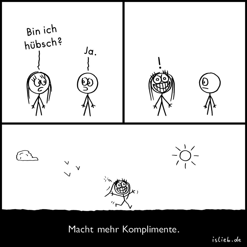 Komplimente | Strichmännchen-Comic | is lieb? | Bin ich hübsch? Ja. Macht mehr Komplimente. | Attraktivität, attraktiv, Schönheit, Aussehen, unsicher, Unsicherheit, glücklich, Selbstvertrauen, Selbstbewusstsein, Selbstwertgefühl