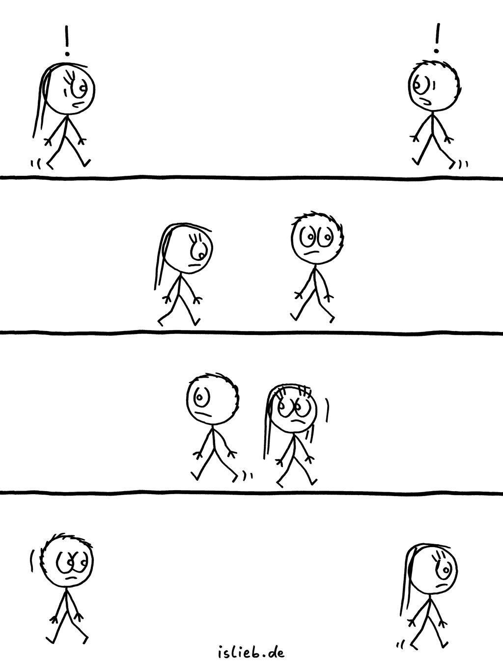 Hallo | Strichmännchen-Comic | is lieb? | Schüchternheit, ansprechen, Blickkontakt, einsam, single