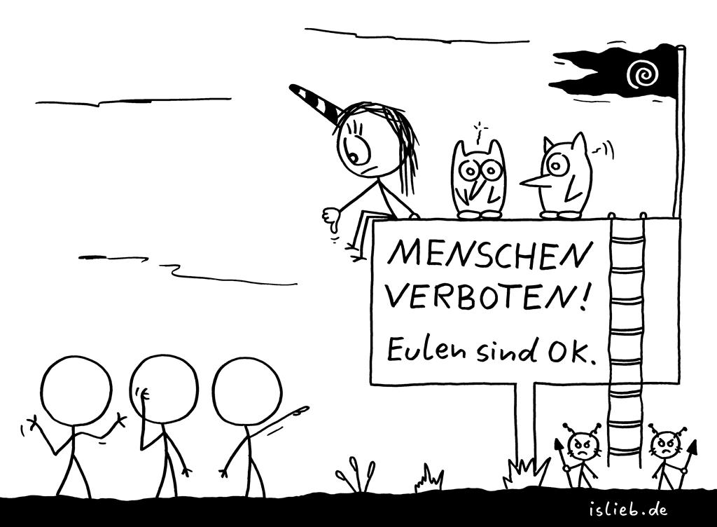 Misanthropie | Eulen-Cartoon | is lieb? | Menschen verboten! Eulen sind ok. | Menschenhass, tierlieb
