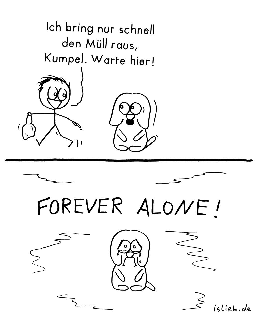 Warte hier | Hunde-Comic | is lieb? | Ich bring nur schnell den Müll raus Kumpel. Warte hier! Forever alone! Hunde, Haustier, Single, verlassen, Einsamkeit, Tiere