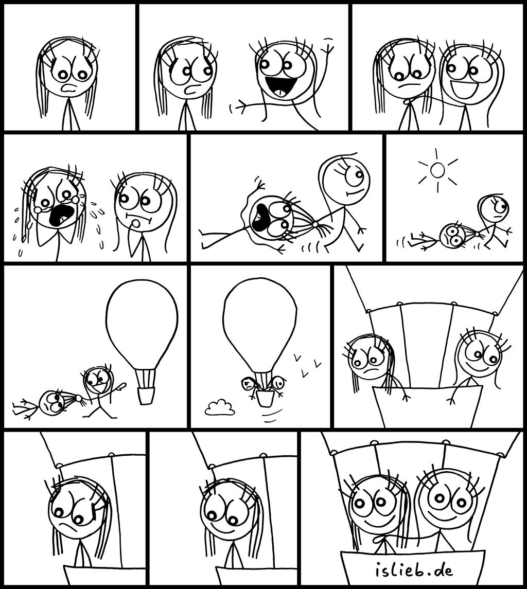 Auftrieb | Freundschafts-Comic | is lieb? | Beste Freundin, Freundinnen, Freundschaft, Aufmunterung, traurig, weinen Ausflug, Ballon
