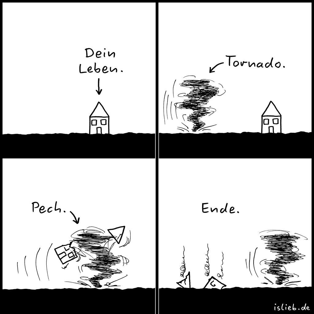 Pech | Tornado-Comic | is lieb? | Dein Leben. Tornado. Pech. Ende. | Naturgewalt, Sturm, Haus, Schicksal, Zerstörung, Unglück, Katastrophe