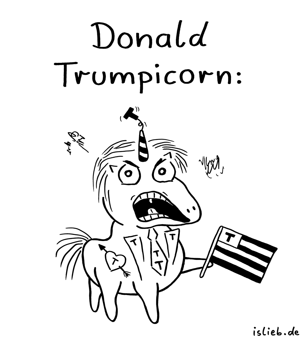 Donald Trumpicorn | Unicorn-Cartoon | is lieb? | Donald trump, Einhorn, Einhörner, Unicorns, USA, Amerika, Präsident
