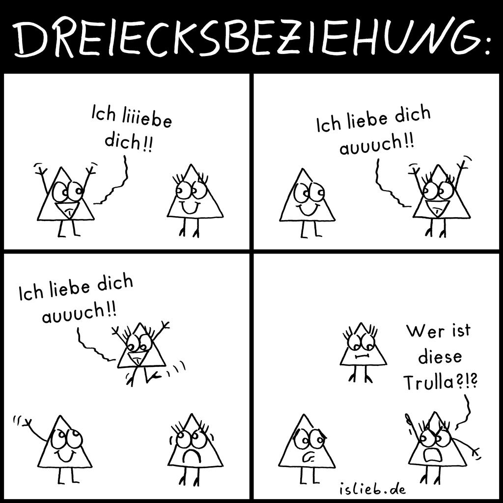 Dreiecksbeziehung | Geometrie-Comic | is lieb?
