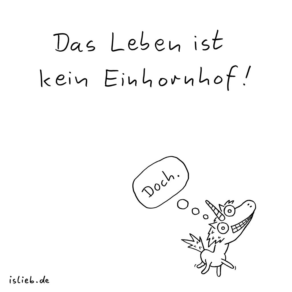 Keinhornhof | Einhorn-Cartoon | is lieb? | Das Leben ist kein Einhornhof. Doch. Einhörner, Unicorns, Ponyhof, Sprüche, Spruch