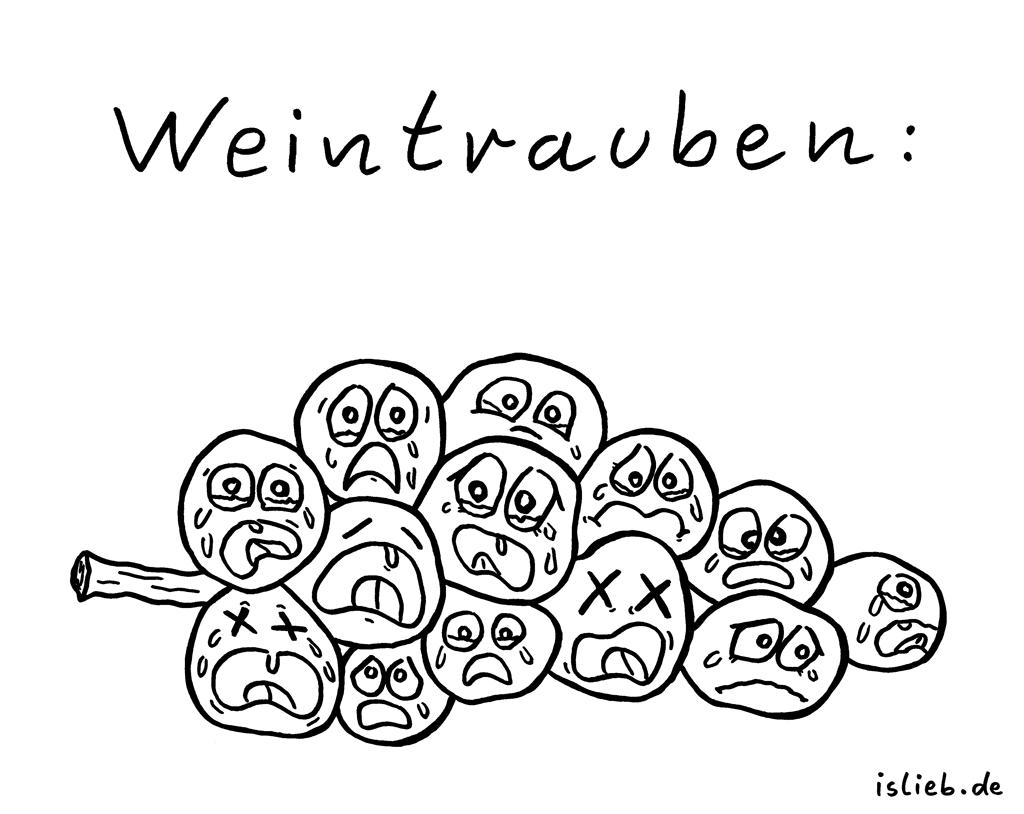 Weintrauben | Obst-Cartoon | is lieb? | Tränen, weinen, heulen, flennen