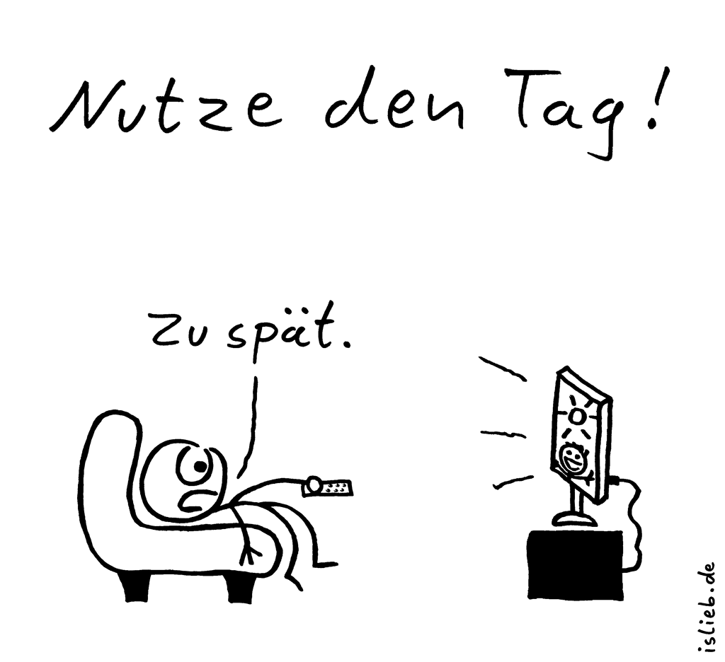 Nutze den Tag | Strichmännchen-Cartoon | is lieb? | Nutze den Tag. Zu spät. | Glotze, Fernsehen, KO, Trash-TV, Zeitverschwendung