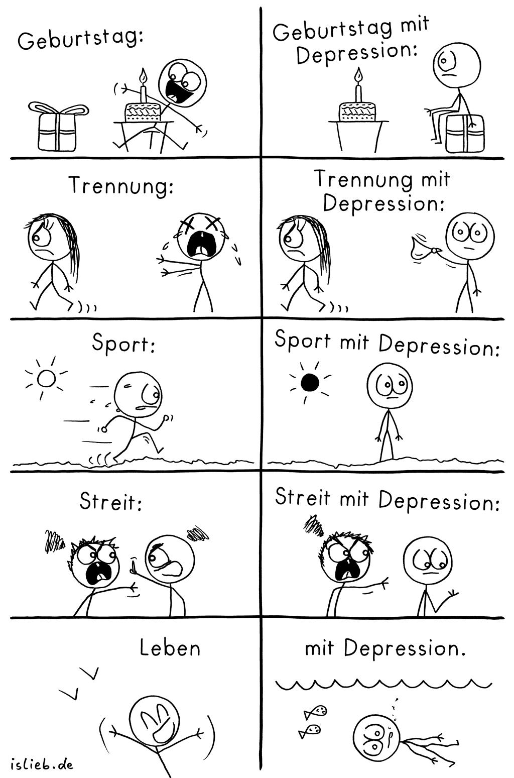 Leben mit Depression | Strichmännchen-Comic | is lieb? | Geburtstag mit Depression. Trennung mit Depression. Sport mit Depression. Streit mit Depression. Leben mit Depression. | Depressiv, deprimiert
