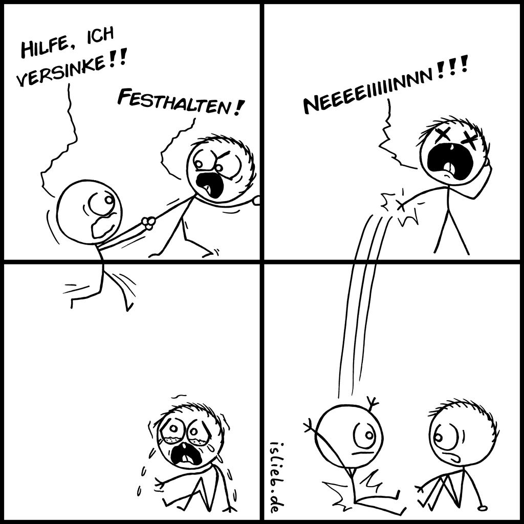 Versinken | Strichmännchen-Comic | is lieb? | Hilfe, ich versinke! Festhalten! | Zeitreise, Mindfuck, Meta, Wurmloch, Wurmlöcher