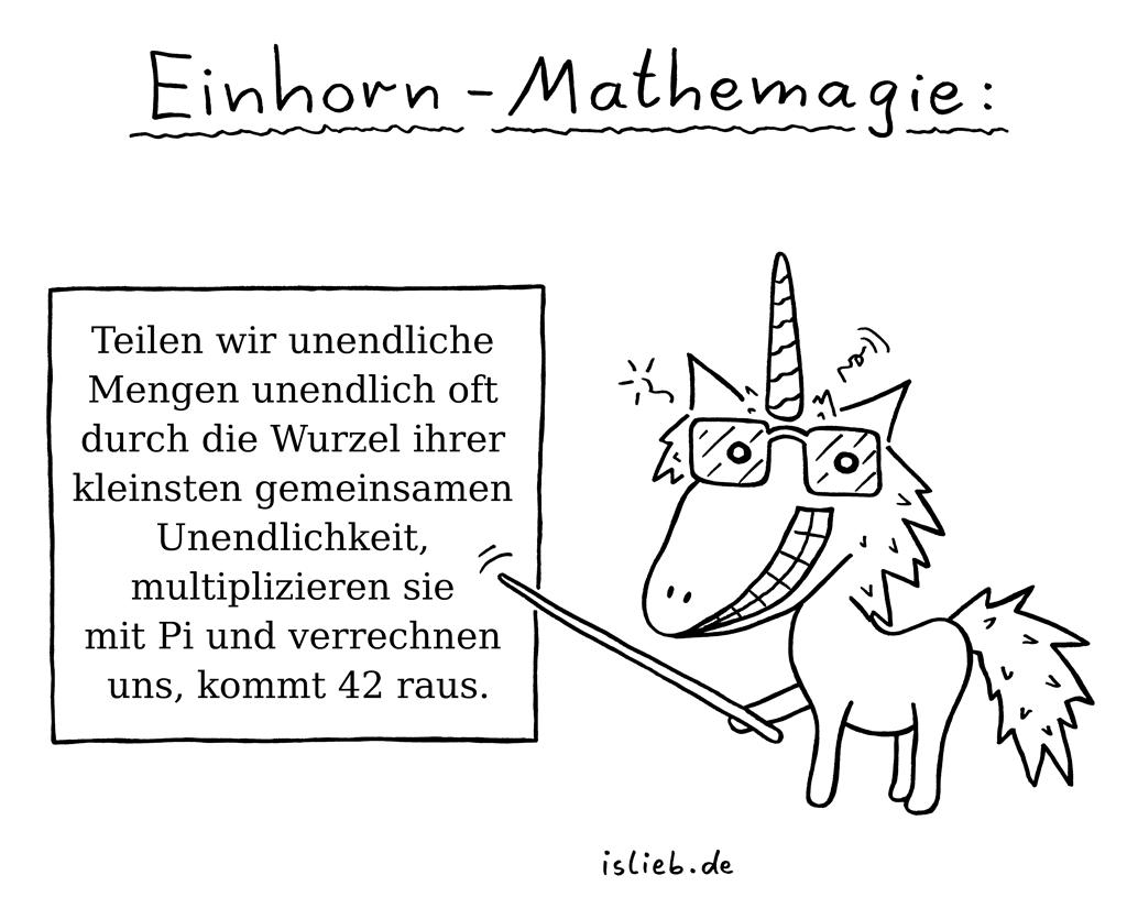 Einhorn-Mathemagie | Pi-Cartoon | is lieb? | Teilen wir unendliche Mengen unendlich oft durch die Wurzel ihrer kleinsten gemeinsamen Unendlichkeit, multiplizieren sie mit Pi und verrechnen uns, kommt 42 raus. | Unendlichkeit, Einhörner, Mathematik, Douglas Adams