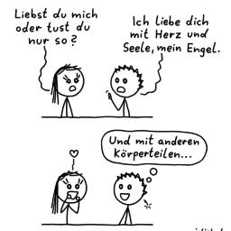 Liebst du mich? | Strichmännchen-Comic | is lieb?