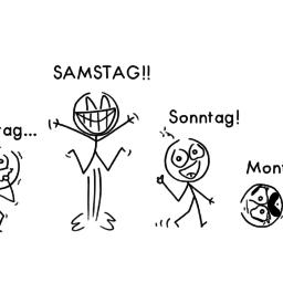 Wochenende | Strichmännchen-Cartoon | is lieb?