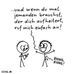 Aufheiterung? | Anruf-Cartoon | is lieb?