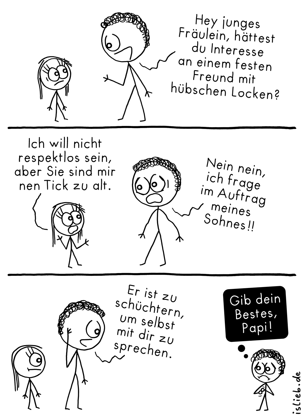Locken | Strichmännchen-Comic | is lieb?
