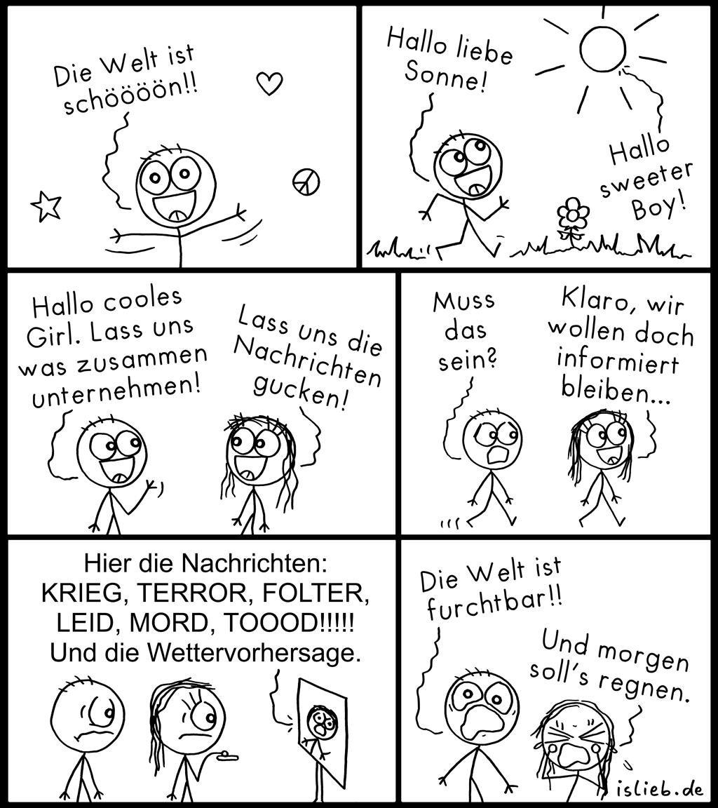 Schöne Welt | Nachrichten-Comic | is lieb?