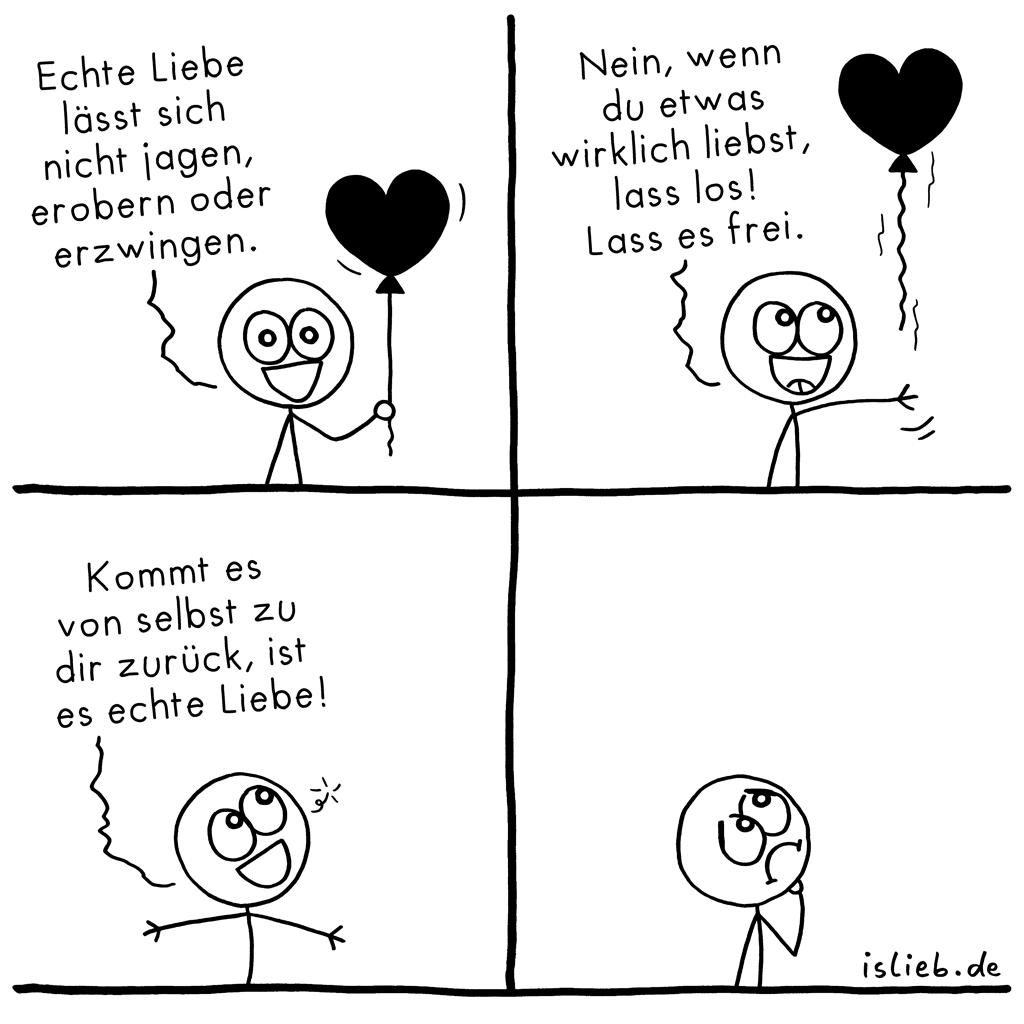 Echte Liebe | Strichmännchen-Comic | is lieb? | Echte Liebe lässt sich nicht jagen, erobern oder erzwingen. Nein, wenn du etwas wirklich liebst, lass los! Lass es frei. Kommt es von selbst zurück, ist es echte Liebe. | Ballon, lieben, verliebt, geliebt, Philosophie
