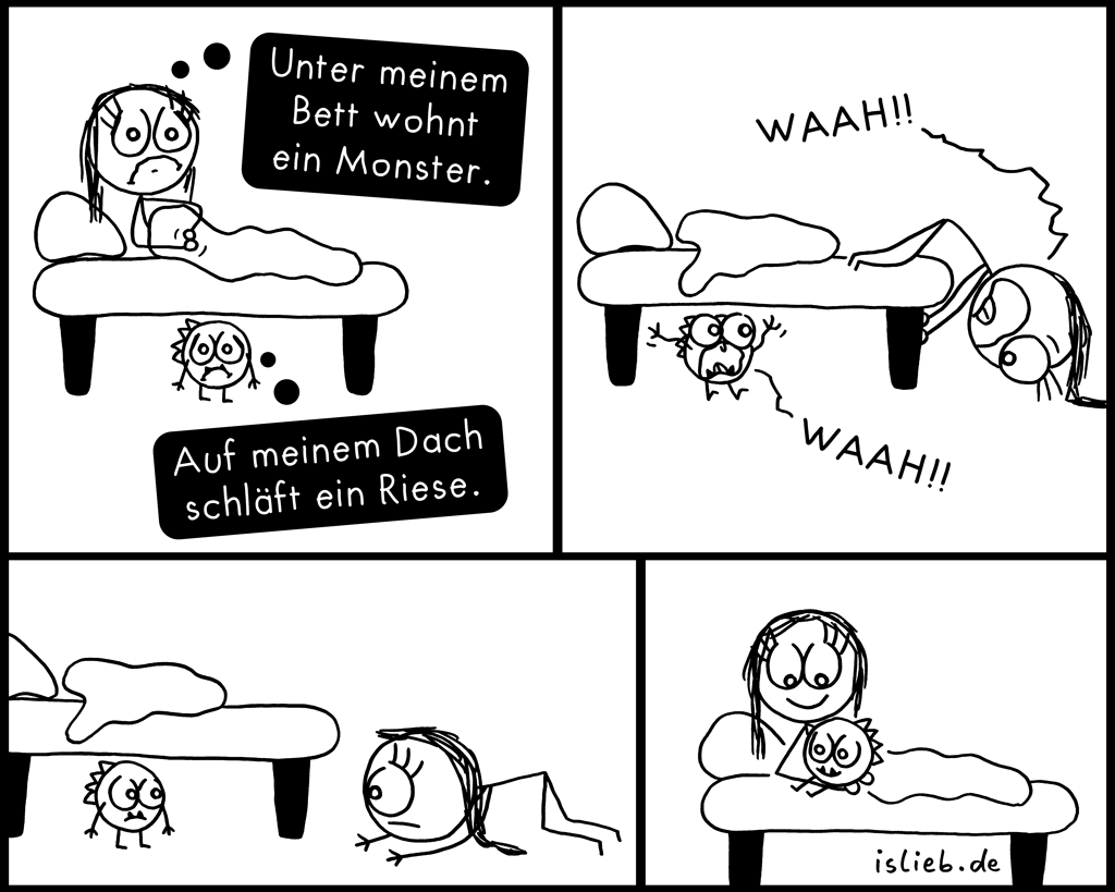 Unterm Bett | Monster-Comic | is lieb?