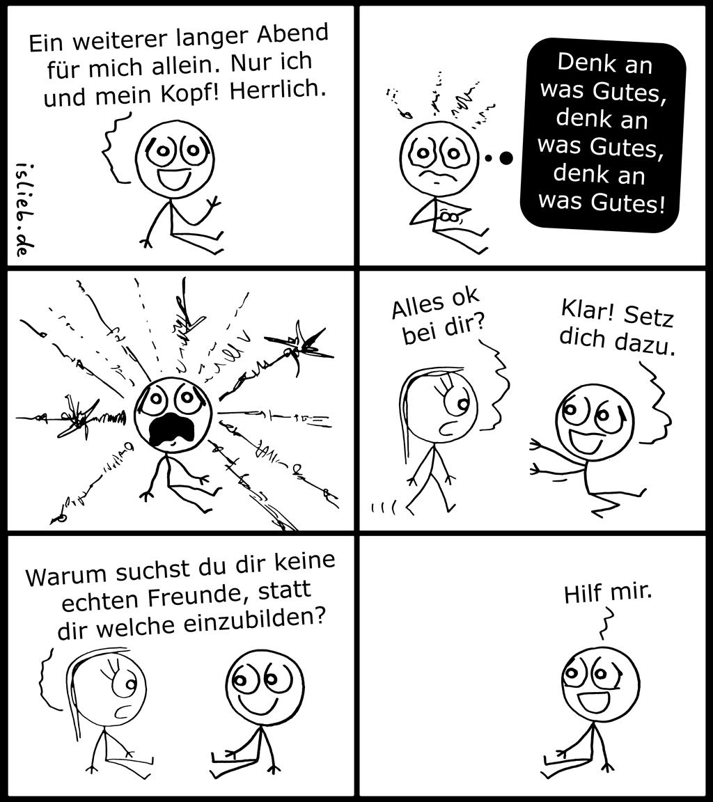 Langer Abend | Kopf-Comic | is lieb?