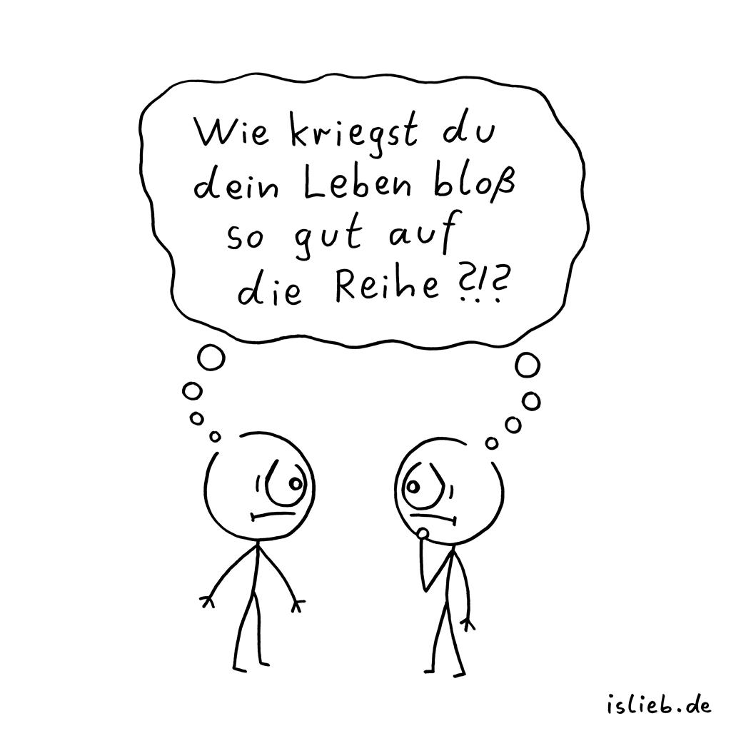 Reihe | Strichmännchen-Cartoon | is lieb?